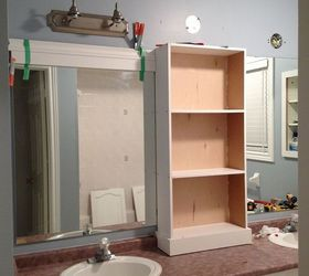 Framed Bathroom Mirror With Shelf Large Bathroom Mirror Redo To Double Framed  Mirrors And Cabinet