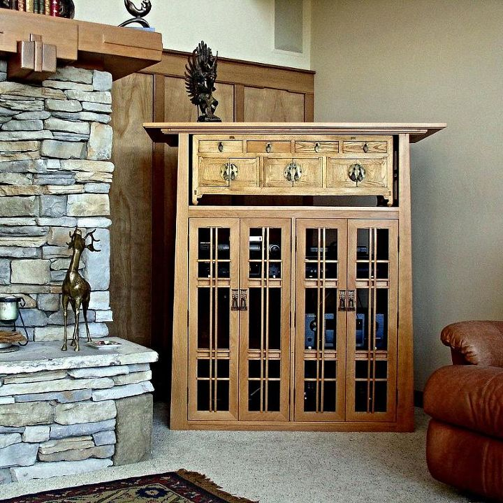 media cabinet for an arts and crafts style living room diy doors