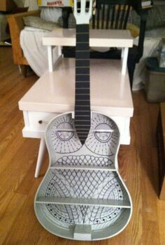 diy guitar owl shelf, crafts, diy, repurposing upcycling, shelving ideas