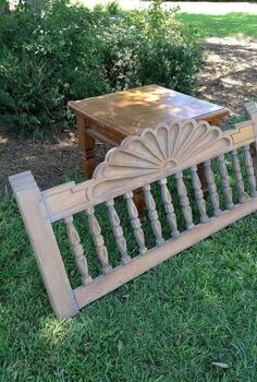 how to make a bench from an end table and headboard, painted furniture, repurposing upcycling, A 10 end table and a 19 headboard are used to make a bench for the kitchen table