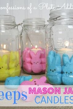 easter fun my peeps mason jar candles, crafts, easter decorations, mason jars, seasonal holiday decor, Fun Easter candles made from Mason jars votive holders and Peeps that s it