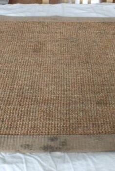 make an old rug look new for just a few dollars, repurposing upcycling, After vacuuming and deep cleaning our sisal area rug it still looked like this I painted it and added our monogram to give it a new look