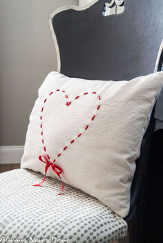ribbon heart drop cloth pillow, crafts, how to, seasonal holiday decor, valentines day ideas