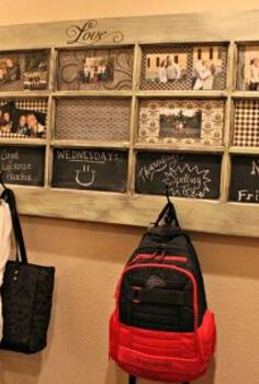 old door turned message center, diy renovations projects, repurposing upcycling, The finished door hanging on the wall
