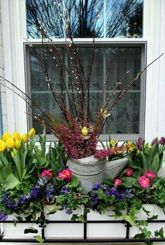 welcome spring time to change the window boxes, gardening, seasonal holiday d cor, window box filled with spring blooms