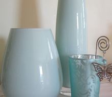 painted glass bottles amp vases, crafts, Two dollar store vases painted