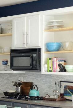 our budget kitchen makeover, home decor, kitchen backsplash, kitchen design, Open Shelving