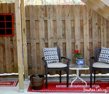 see how i spruced up a dirty shady outdoor space, decks, outdoor living, POP From shady and always seemed damp or dirty to PRETTY