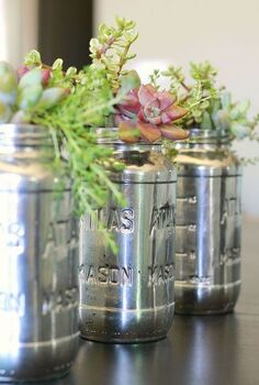 spaghetti jars for the win, repurposing upcycling, Simple make over with Krylon s Mirror Glass spray paint 3 5 coats of paint make for a lovely vintage feel