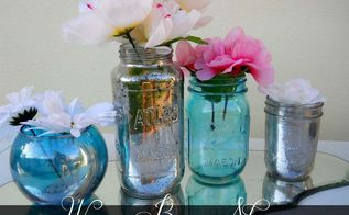 diy mercy glass in any color, crafts, mason jars, the finished product you can win all this shinny goodness From Left to right Colored Faux Mercury glass plain ol faux Mercury glass plain colored mason jar and lil faux mercury mason jar