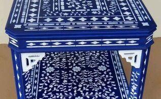 my blue stenciled table when a little stenciling is not enough, painted furniture, My blue uber Stenciled Table I call it Festooned