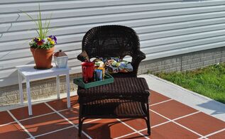 how to paint patio tiles, concrete masonry, painting, patio, porches, Our patio went from boring to inviting
