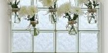 mason jar window treatment, crafts, home decor, mason jars, repurposing upcycling, Mason jar window treatment using jute rope and fresh flowers