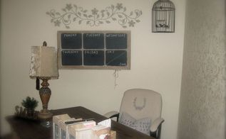 old window turned into a chalkboard calendar, diy, repurposing upcycling, Hung it in my new home office space