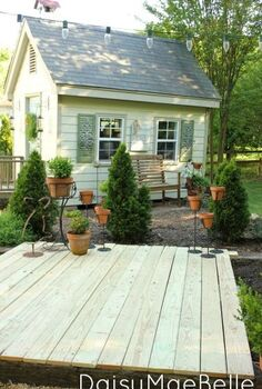 easy deck with concrete blocks and railroad ties, decks, diy, This is the completed deck