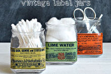 decoupaged vintage apothecary label jars, crafts, decoupage, repurposing upcycling, bathroom storage idea
