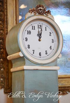 create a faux swedish mora clock, painted furniture, The after