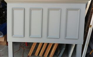 queen size door headboard made with a slab door painted chelsea gray, bedroom ideas, painted furniture, repurposing upcycling