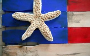 create and build a patriotic flag with paintsticks, crafts, patriotic decor ideas, seasonal holiday decor, sculpt a starfish out of paper clay and assemble