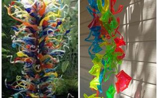 chihuly inspired sun catcher made from recycled plastic drinking cups, crafts, repurposing upcycling