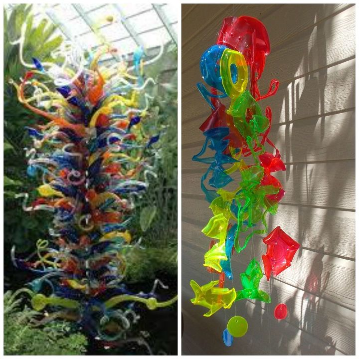 Chihuly inspired sun catcher made from recycled plastic - Crafts made from plastic cups ...