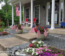 porches with patriotic appeal, curb appeal, outdoor living, patriotic decor ideas, seasonal holiday decor, Porch with patriotic spirit from many flags