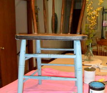 patriotic chair decor, chalk paint, painted furniture, I was given this old chair which is quite wobbly so I scrubbed it up and used CeCe Caldwell s Montana Blue Sky on the base and back