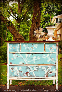 cherry blossom dresser, bedroom ideas, chalk paint, painted furniture, Chalk Paint by Annie Sloan in Provence and Old White