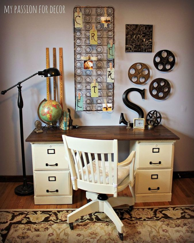 Pottery barn inspired desk using goodwill filing cabinets for Bedroom cupboards designs home office furniture