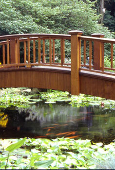 add a bridge to your pond or landscape, outdoor living, ponds water features, A bridge with railing makes an architectural statement in the landscape