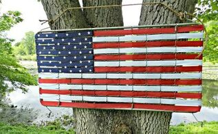 crib mattress spring turned american flag, crafts, patriotic decor ideas, seasonal holiday decor, We can t keep this outside but we could display her outside for a special occasion She ended up on our mantel