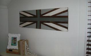 diy union jack sign old door headboard, bedroom ideas, crafts, home decor, repurposing upcycling, Union Jack sign