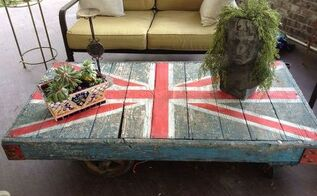 union jack cart table, painted furniture, pallet, repurposing upcycling