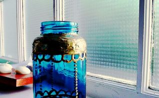 going jar crazy reusing bottles and jars for storage and other things, chalkboard paint, cleaning tips, crafts, repurposing upcycling, storage ideas, a moroccan style painted jar using spaghetti sauce jars