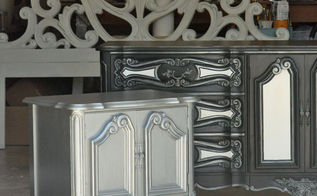 charming french bedroom set, bedroom ideas, home decor, painted furniture, Ralph Lauren Iron Gate on the nightstand Maison Blanche Paint in Wrought Iron and Pewter Organza Custom mixed white for the headboard and dresser accents