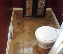 guest bathroom paper bag floors, bathroom ideas, flooring, repurposing upcycling, tile flooring, After Bathroom Floors with Paper Bag application