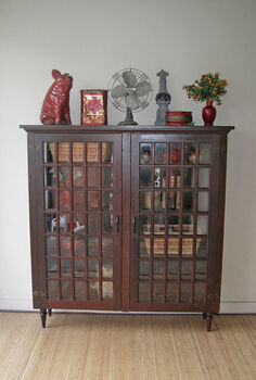 old hutch from farm house converted into a cabinet bookcase, kitchen cabinets, painted furniture, repurposing upcycling, rustic furniture