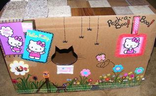 cat home cardboard box, crafts, pets, pets animals, repurposing upcycling