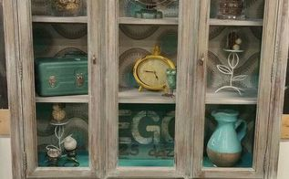 vintage hutch given weathered wood look, painted furniture