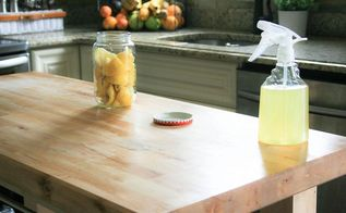 homemade butcher block cleaner, cleaning tips, countertops, 5 After lightly scrubbing the butcher block with warm warmer and a little bit of soap liberally spray over the butcher block to disinfect and then wipe off