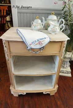 cute shabby chic end table makeover, painted furniture, shabby chic