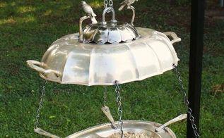 repurposed twin bird silverplate platters bird feeder, outdoor living, repurposing upcycling, Repurposed Twin Bird Silverplate Platters Bird Feeder by GadgetSponge com