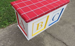 repurposed 1 cupboard doors into an abc block toy box, diy, how to, repurposing upcycling, Add a little sawing drilling painting and sewing to get this adorable ABC Blocks Toy Box