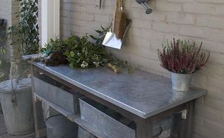 how to turn a garden table into a potting bench, gardening, painted furniture, A potting table with a galvanized top didn t start out his life this way