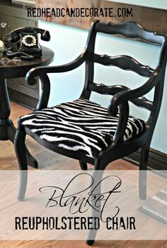 reupholstered chair with blanket, painted furniture, reupholster, The chair was painted glossy black first