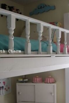 lofted cottage bed for our little girl s dream room, bedroom ideas, diy, home decor, painted furniture, repurposing upcycling, after We attached the railing to the side using hinges to make sheet changing easier