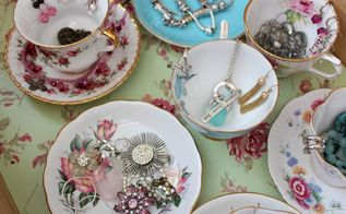 vintage tea cup jewelry storage solution, repurposing upcycling, storage ideas, A mix of tea cups and saucers not only store jewelry pieces but look pretty as well
