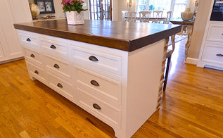kitchen island ideas, home decor, kitchen design, kitchen island, repurposing upcycling, woodworking projects, The top is made from 4 thick reclaimed ash wood beams