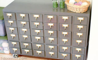repurposed card catalog, painted furniture, repurposing upcycling, storage ideas, This is one half of the original piece The catalog was huge