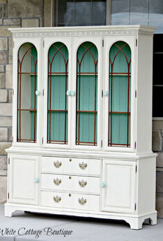 beautiful restored blue and cream hutch, chalk paint, painted furniture